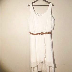Avenue White Dress With Brown Braided Belt